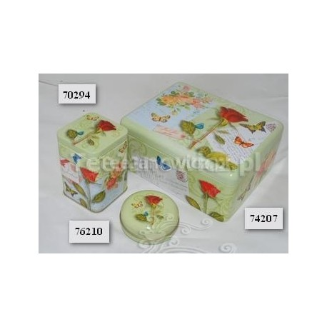 (puszka) Motyl na róży 19x15x8,5