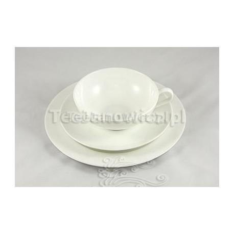 Filiżanka porcelanowa biała Tee Janowicz z talerzykiem